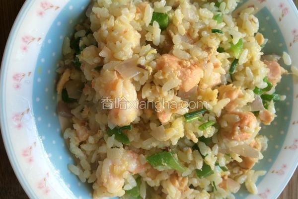三文鱼青椒洋葱炒饭