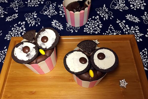 猫头鹰巧克力熔岩蛋糕