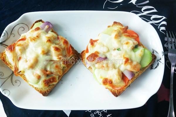 鲜虾土司披萨