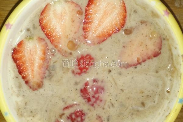 草莓红豆西米露