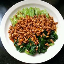 香菇肉末烧油菜的做法[图]