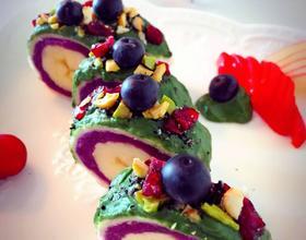 香蕉紫薯吐司抹茶卷