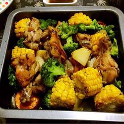 鲜蔬烤鸡腿