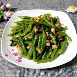 紫苏肉沫炒四季豆
