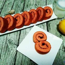 红曲粉果酱蛋糕卷