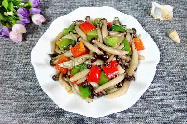彩椒炒蟹味菇的做法