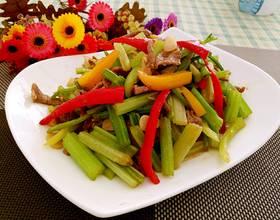 彩椒芹菜炒肉丝