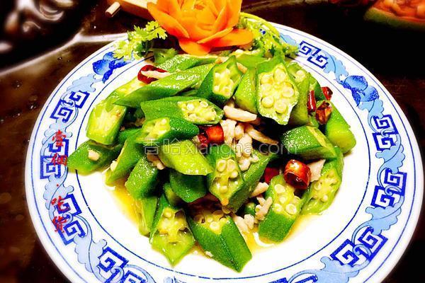 秋葵炒肉丝的做法