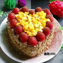 爱心水果蛋糕(四寸)