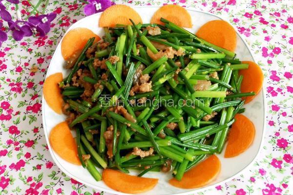 韭苔炒肉沫