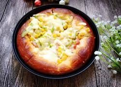 火腿蔬菜披萨,(面包机发面)