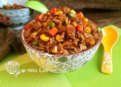 杂蔬肉丁酱油炒饭