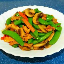 蘑菇肉絲炒甜豆