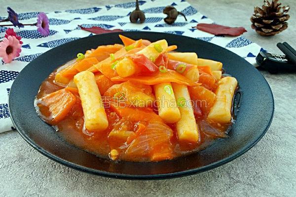 番茄炒年糕的做法