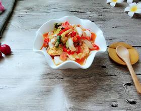 西红柿炒蘑菇鸡蛋浇汁手擀面