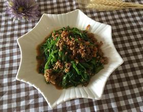 虾米肉碎炒通菜