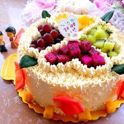 淡奶油水果蛋糕(巧克力蛋糕胚)