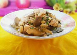 小蘑菇炒肉片(无盐无味精版)