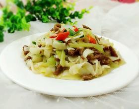 莴苣牛肉炒河粉