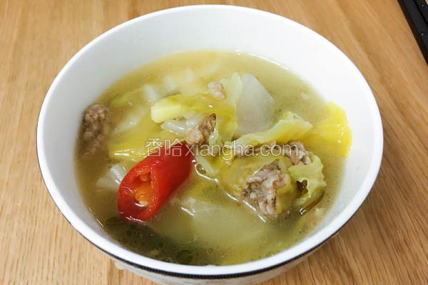 酸萝卜泡菜肉丸汤