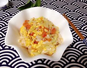 番茄鸡蛋包心菜炒面