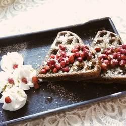 抹茶红豆华夫饼