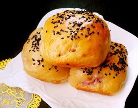 黑芝麻紫薯山药面包