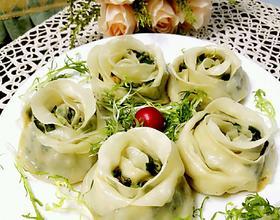 韭菜虾仁玫瑰花煎饺
