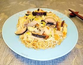 香菇娃娃菜炒银丝面