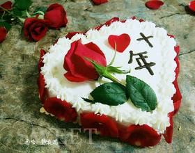 玫瑰花爱心蛋糕