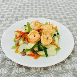 蒜香虾仁瘦肉炒茭白