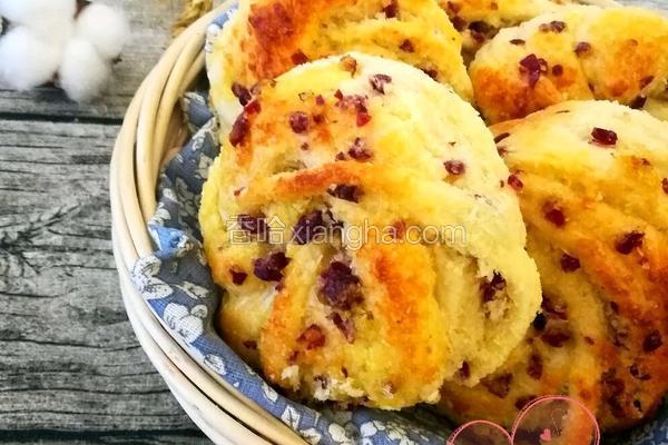 超详细蔓越莓椰蓉花朵面包