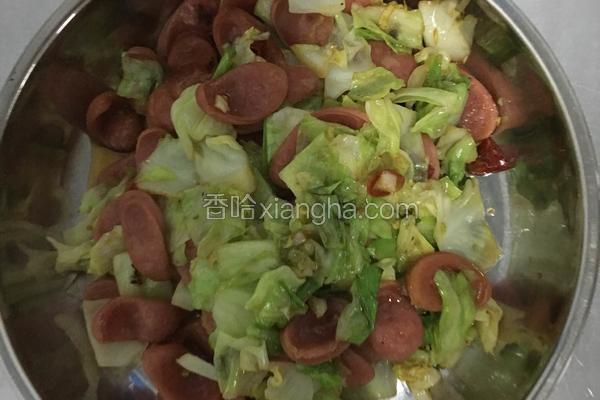 圆生菜炒火腿肠