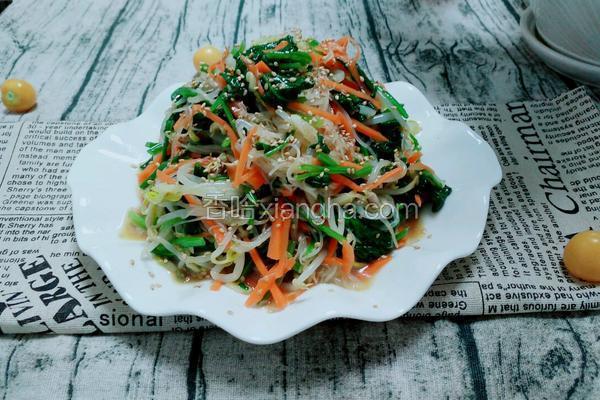 豆芽菠菜拌粉丝