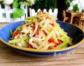白菜梗子芹菜炒肉丝