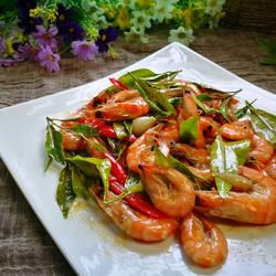 嫩桔叶炒虾