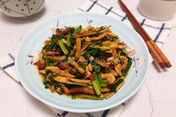 韭菜豆干炒鸡肉