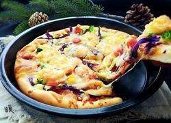什锦蔬菜鲜虾披萨