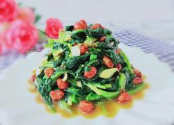 凉拌菠菜花生米