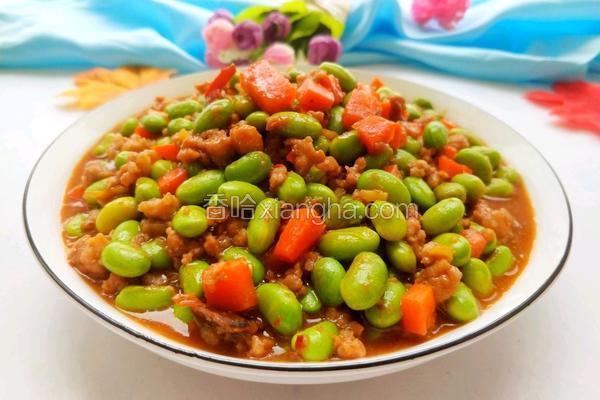 毛豆米炒肉沫