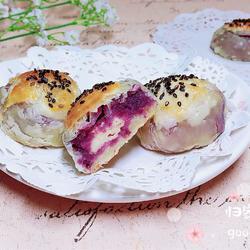 椰浆紫薯奶皮月饼